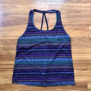 Colorful Striped Patterned Halter Active Tank Top
